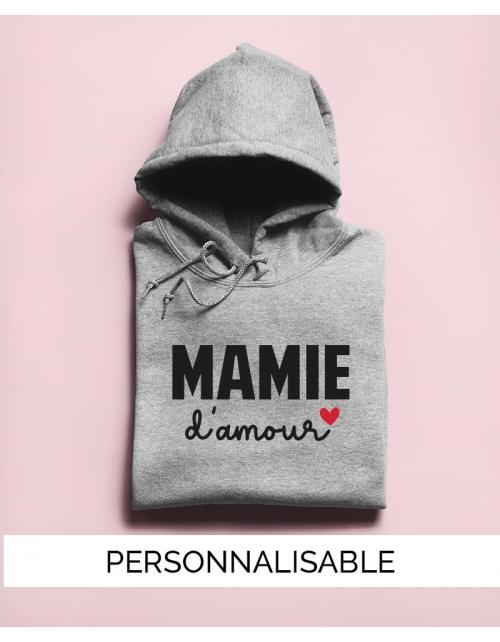 Sweat à capuche Mamie à personnaliser - Mamie Amour - Collection Pilou et Lilou