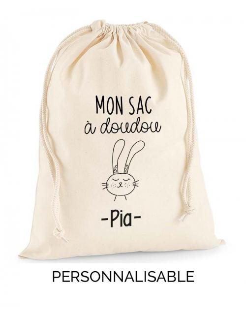 Sac à doudou Lapin personnalisable prénom bébé - Pilou et Lilou
