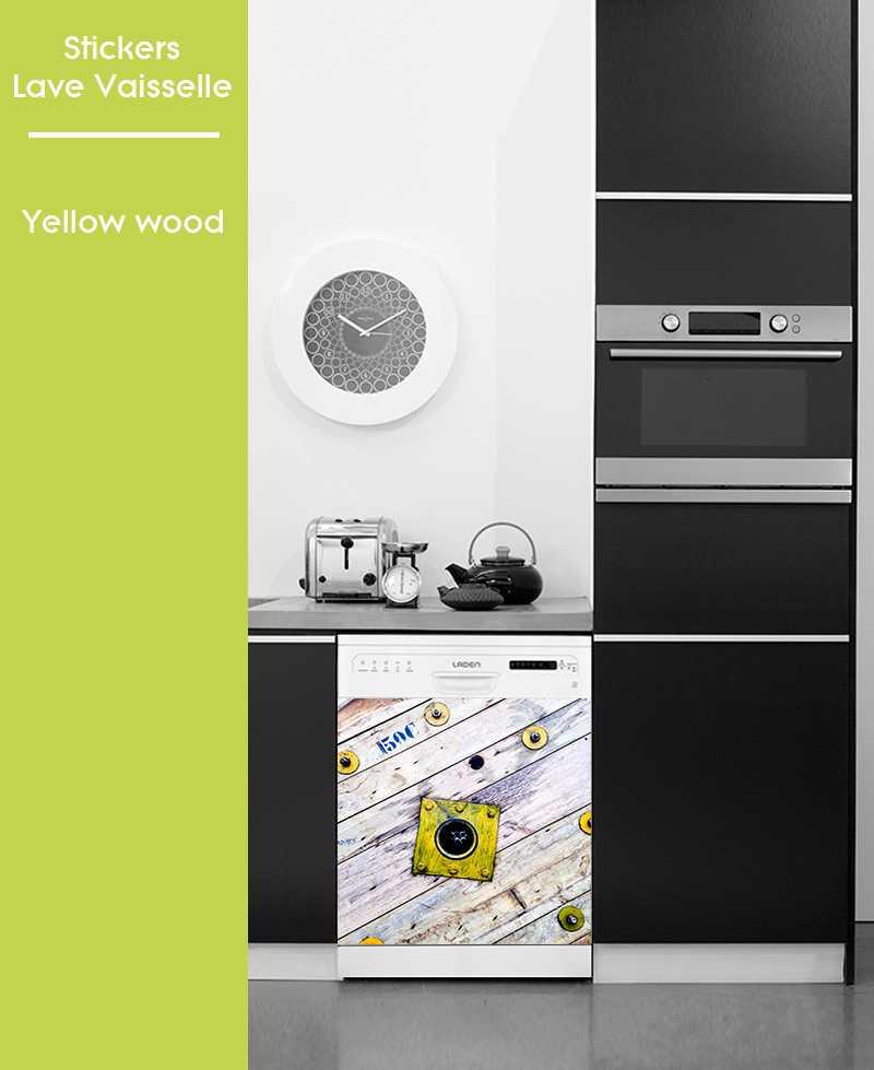 Sticker pour Lave Vaisselle - Yellow Wood