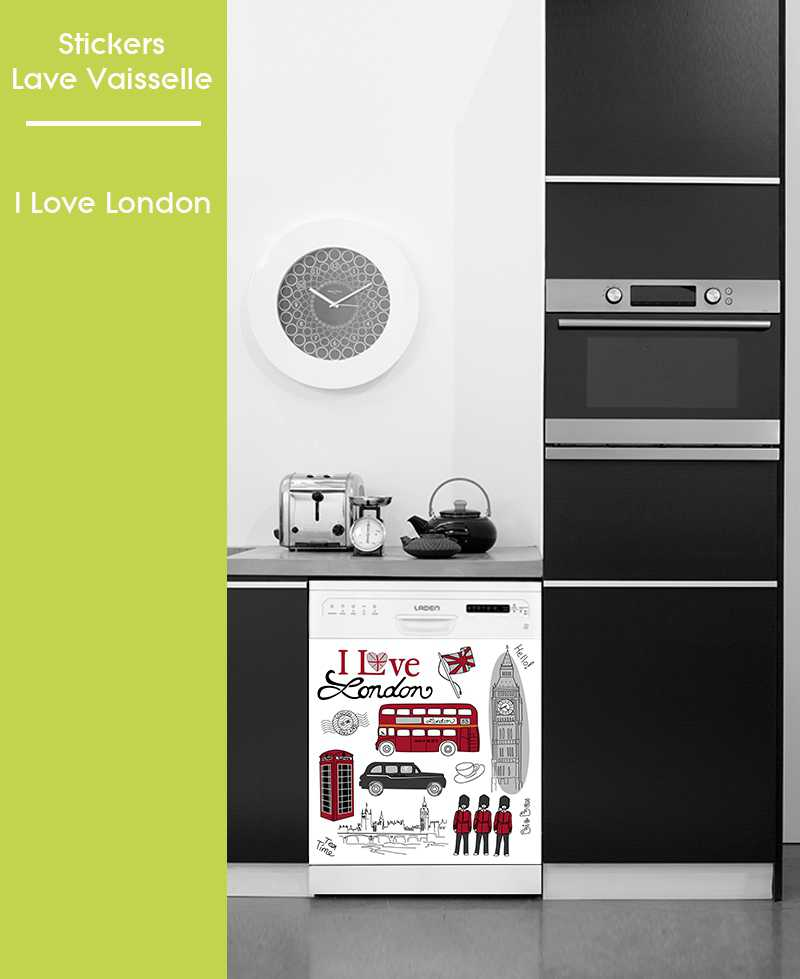 Sticker pour Lave Vaisselle - I Love London