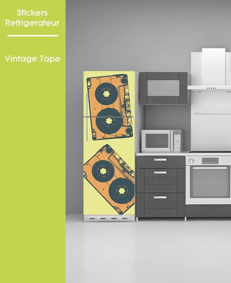 Sticker Pour Frigo Vintage Cassette Audio Pose Facile