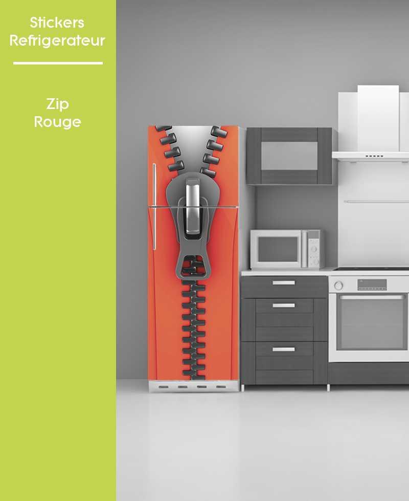 Sticker pour frigo - Zip Rouge