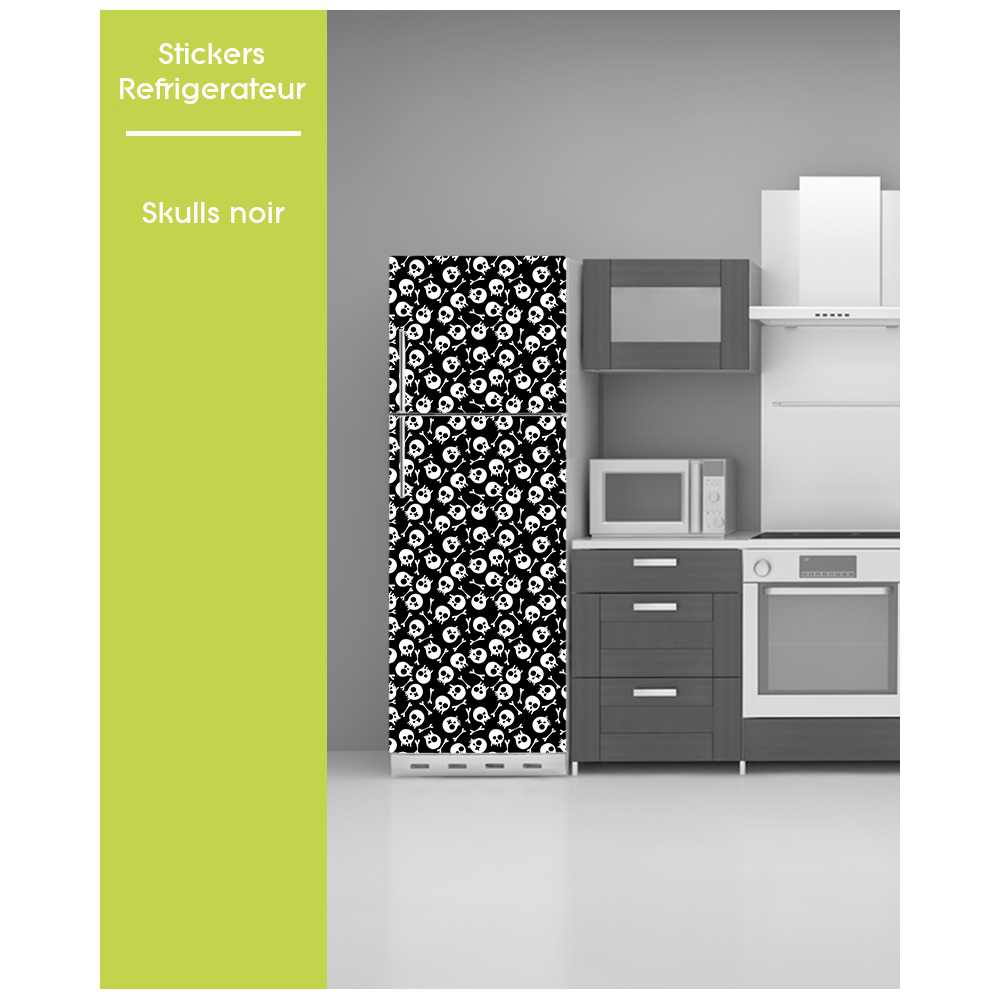 sticker pour frigo trompe oeil pose facile t te de mort skull. Black Bedroom Furniture Sets. Home Design Ideas