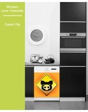 Sticker pour Lave Vaisselle - Super Pig