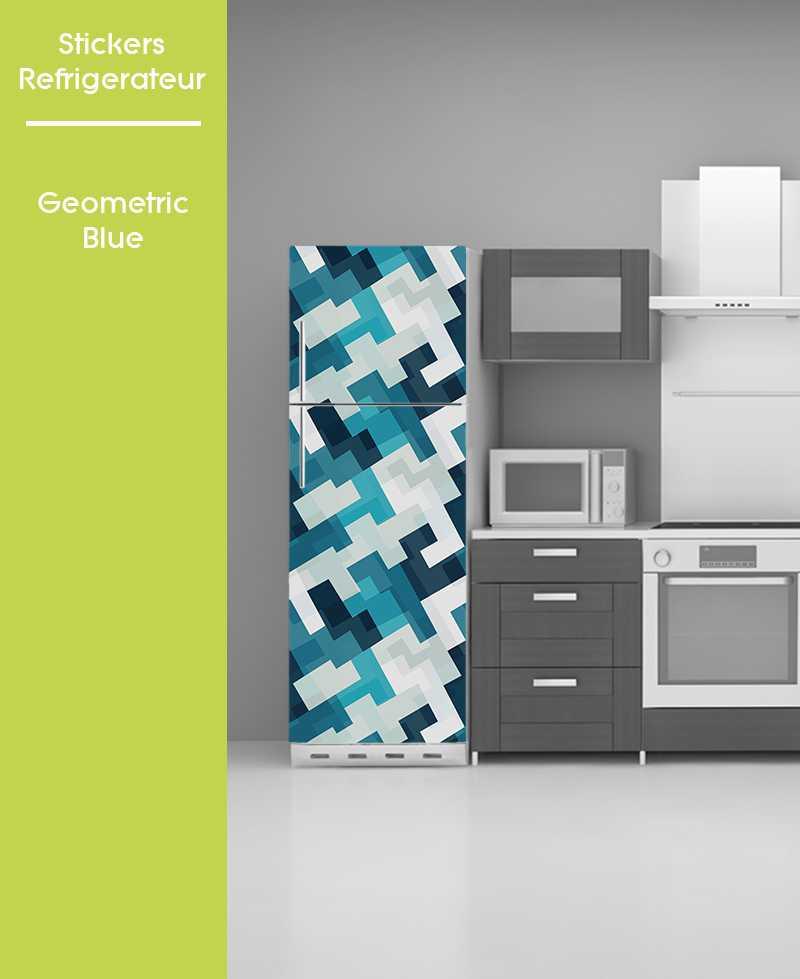 Sticker pour frigo - Bleu Géo