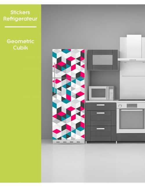 Sticker pour frigo - Geometric Cubic