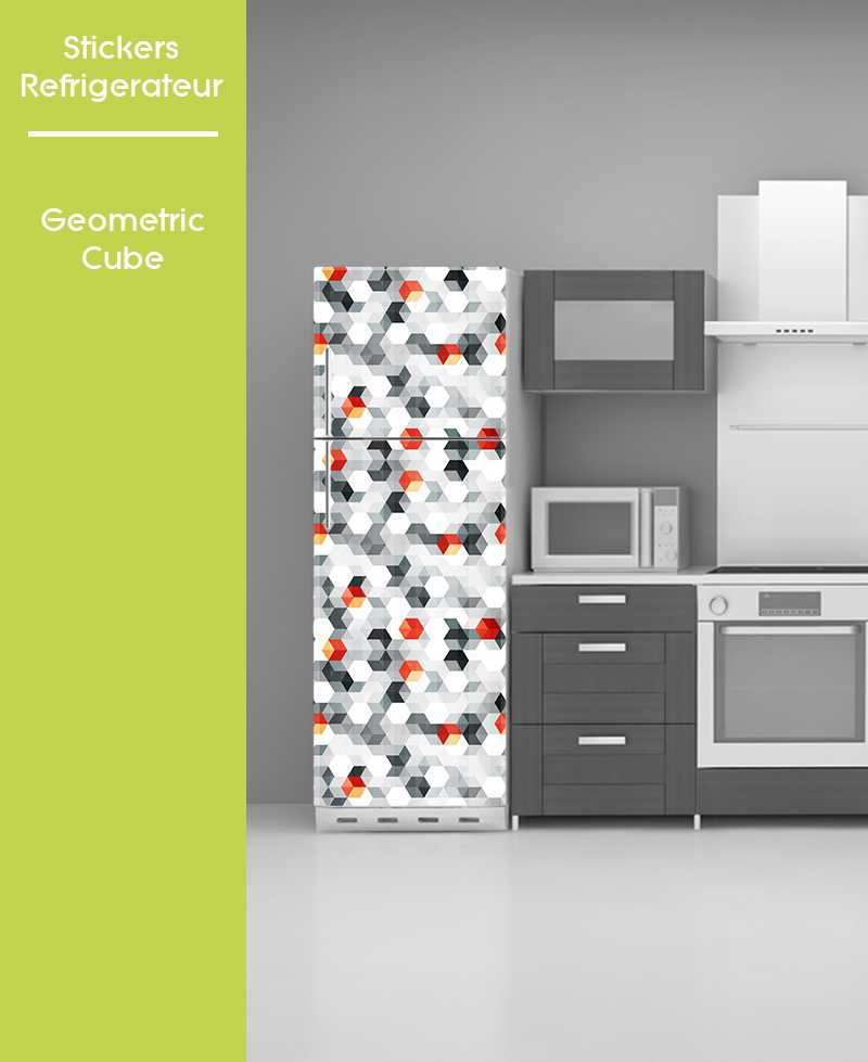 Sticker pour frigo - Geometric Cube