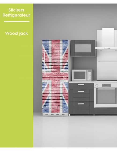 Sticker pour frigo - Wood Union Jack