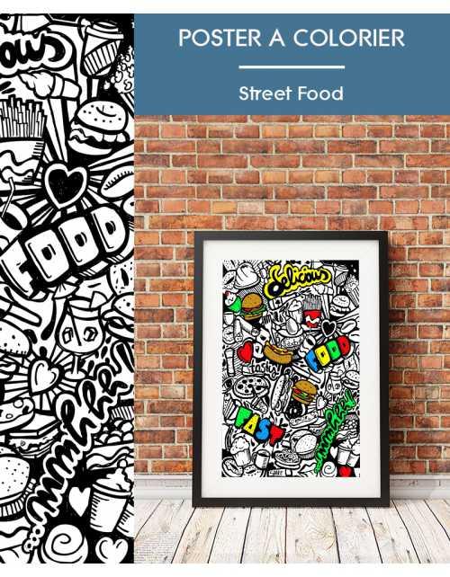 Poster à colorier Street Food
