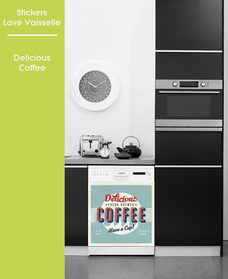 Sticker pour Lave Vaisselle - Delicious Coffee
