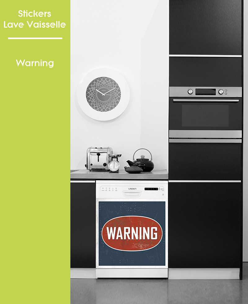 Sticker pour Lave Vaisselle - Warning