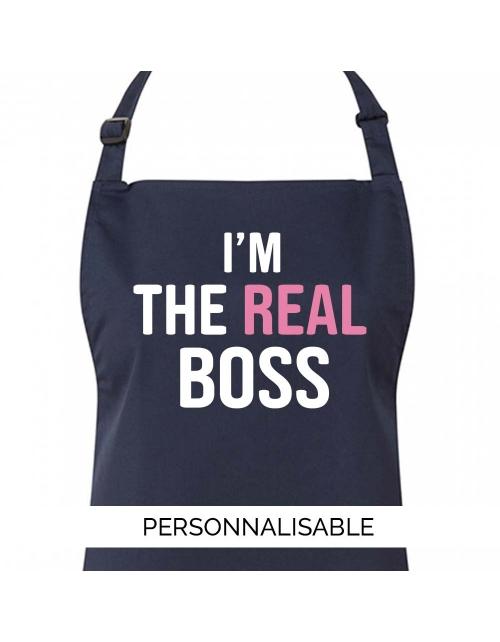 Tablier de cuisine à personnaliser I'm the Real Boss