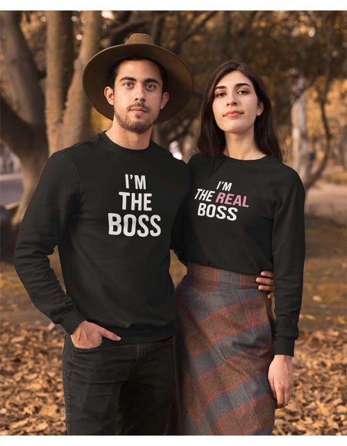 Sweat à personnaliser I'm the Real Boss by Pilou et Lilou